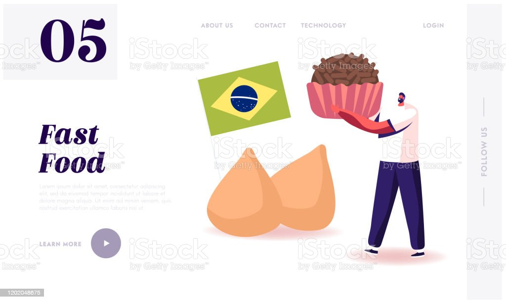 Traditional Food Of Latin America Website Landing Page Man Holding Brazilian Truffle Candy Brigadeiro With Brazil National Flag And Chicken Coxinhas Web Page Banner Cartoon Flat Vector Illustration Stock Illustration Download