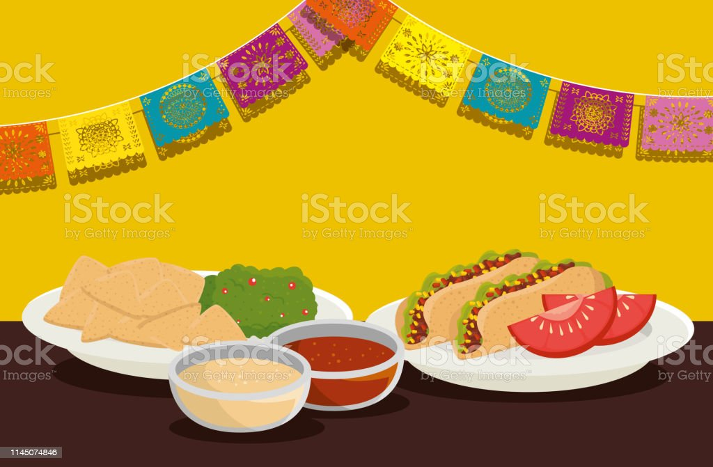 traditional food with party banner to day of the dead vector...