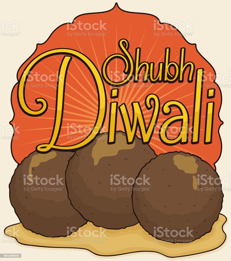 Traditional Fried Gulab Jamun in Syrup for Diwali Celebration vector art illustration
