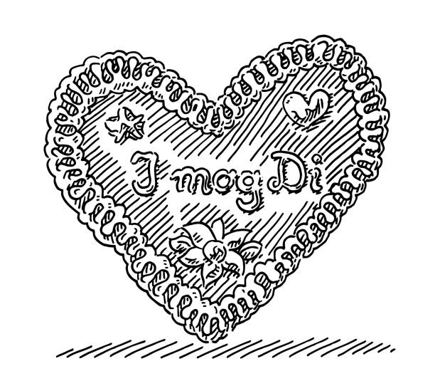 """Traditional Gingerbread Heart I mog Di Drawing Hand-drawn vector drawing of a Traditional Bavarian Gingerbread Heart with the text """"I mog Di"""", which is bavarian and means """"I like you"""". Black-and-White sketch on a transparent background (.eps-file). Included files are EPS (v10) and Hi-Res JPG. oktoberfest stock illustrations"""