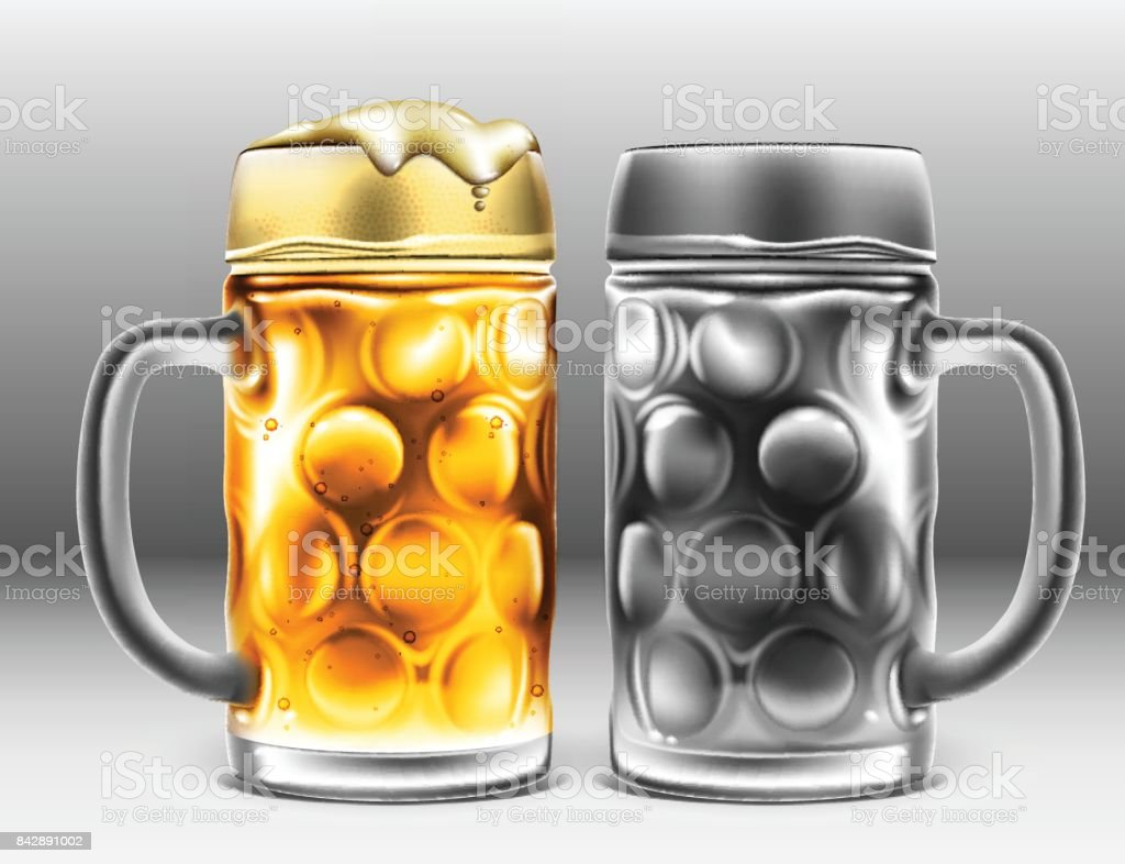 Traditional glass of beer with droplets of moisture. Highly realistic illustration with the effect of transparency. vector art illustration