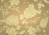 Traditional gold gradient Asian flower textured background