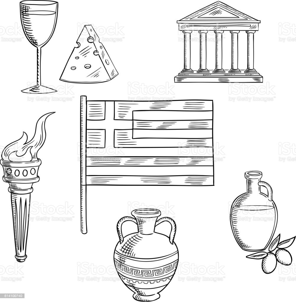 Traditional Greece Symbols And Culture Objects Stock Vector Art