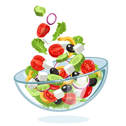 Traditional Greek salad with slices of feta cheese, tomatoes, olives, flying in the air to a glass bowl on a white background. Mediterranean diet