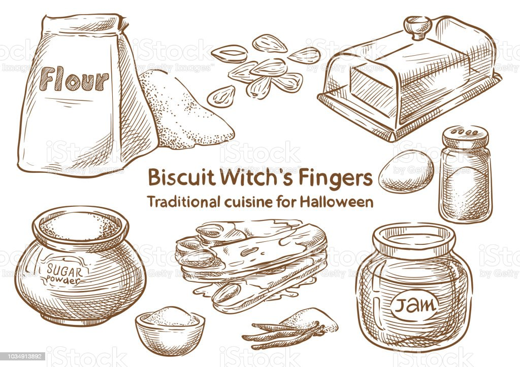 Traditional Halloween Food. Biscuit witch`s Finger vector art illustration