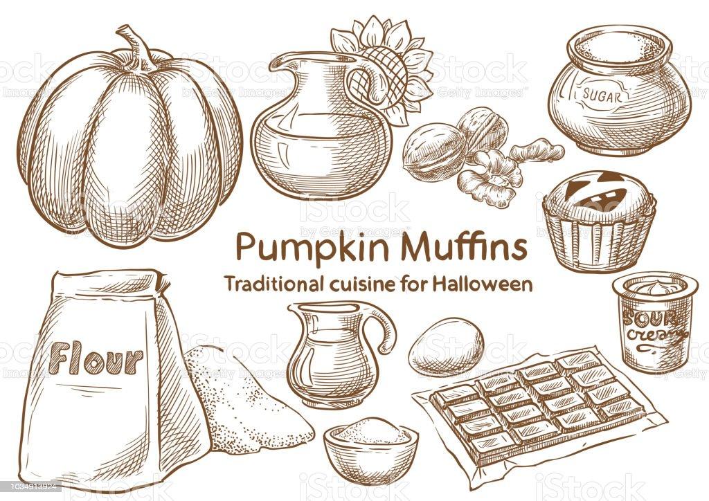 Traditional Halloween Food ingredients. Pumpkin muffins vector art illustration