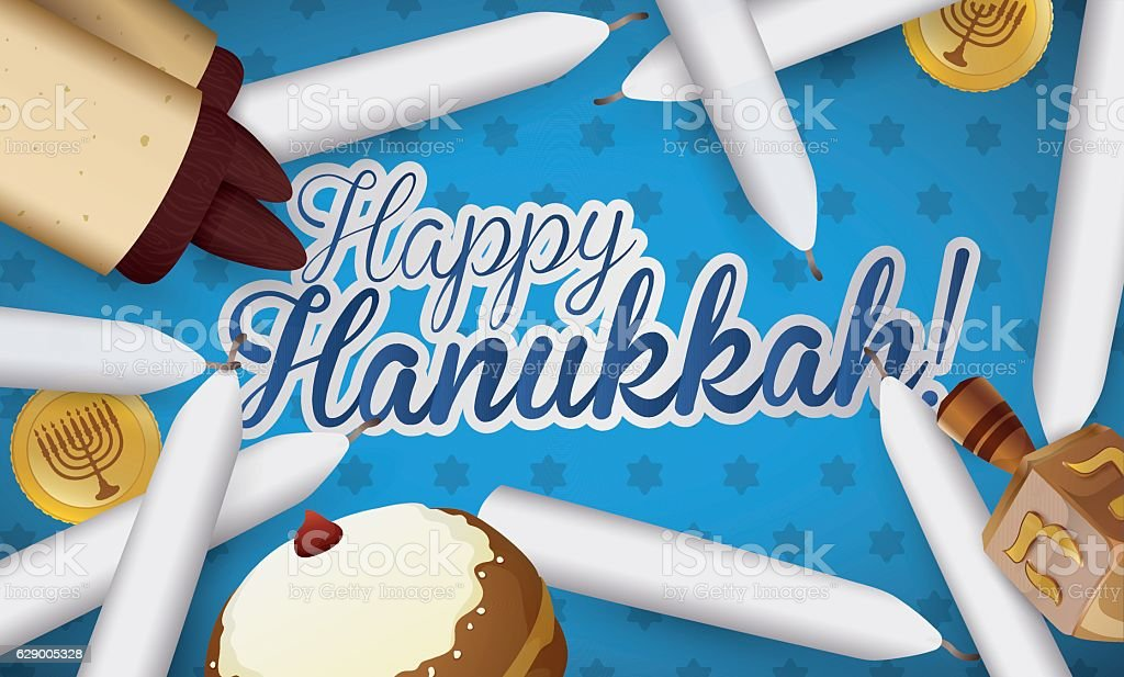 Traditional Hanukkah Candles, Scroll, Sufganiyot, Dreidel and Gelts - Royalty-free Bakery stock vector