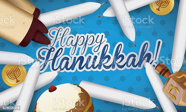Traditional Hanukkah Candles Scroll Sufganiyot Dreidel And Gelts Stock Illustration - Download Image Now