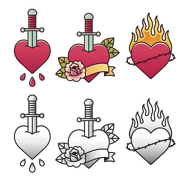 traditional heart tattoo set - fire tattoos stock illustrations, clip art, cartoons, & icons