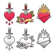 Traditional heart tattoo set