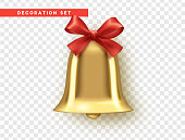 Traditional holiday decoration element, golden bell with red bow.