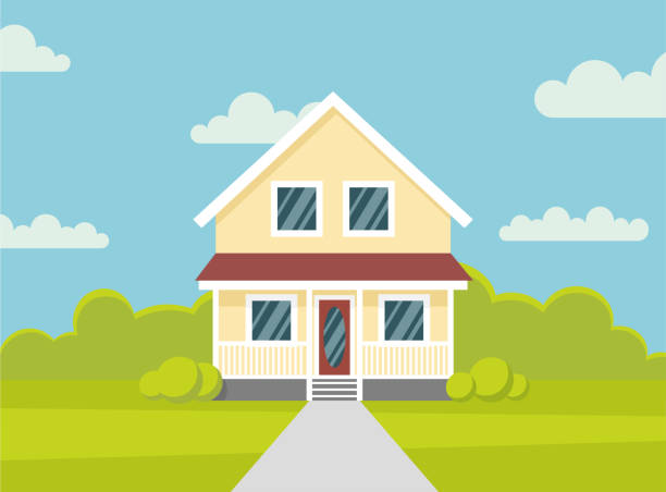 traditional house. family home. flat design vector concept illustration. - stock vector the flat style. - suburbs stock illustrations