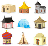 Set of traditional houses. With House, Igloo, Hut, Shack, Slum, Cabinet, Cottage, Cabin, Beach Hut, Gazebo, Tent, Indian Hut, Inuit, Beach House, Straw, Bungalow, Teepee vector illustration.