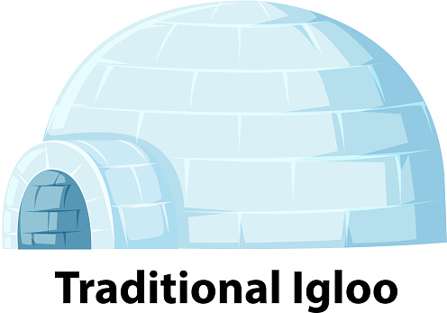 A traditional igloo on white background