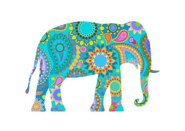 traditionelle indische elefant - elefantenkunst stock-grafiken, -clipart, -cartoons und -symbole