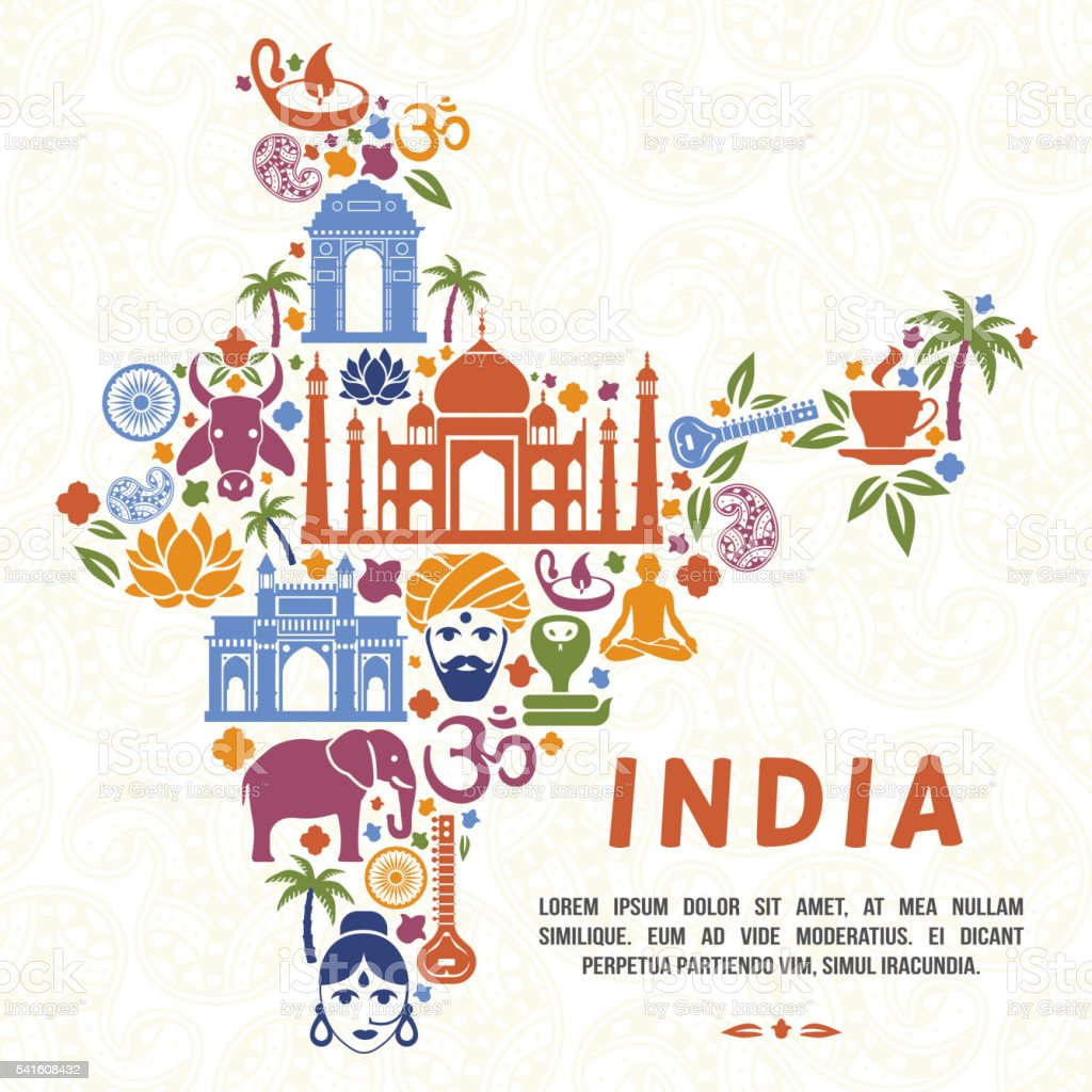 Traditional Indian symbols in the form of India map vector art illustration