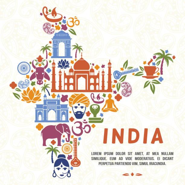 traditional indian symbols in the form of india map - elefantenkunst stock-grafiken, -clipart, -cartoons und -symbole