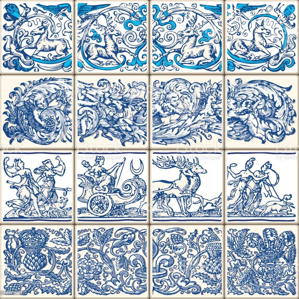 Traditional Indigo Ceramic Vintage Flowers Vector Illustration vector art illustration