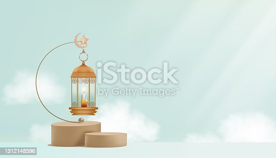istock Traditional Islamic lantern,Candle,Crescent moon and Star hanging on blue wall background, Vector 3D podium, Religions symbolic of Muslim for Ramadan Kareem, Eid Mubarak banner 1312148396