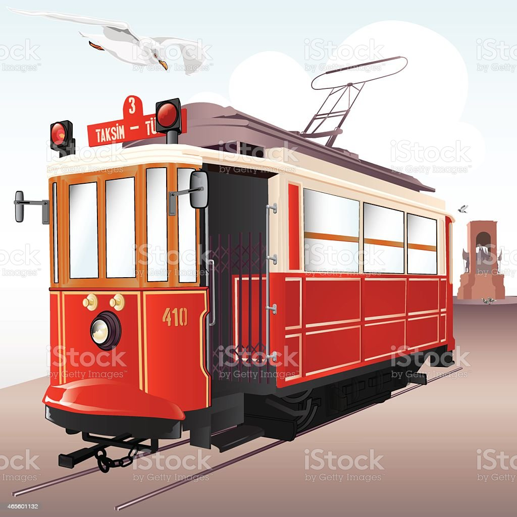 Traditional Istanbul Tram vector art illustration