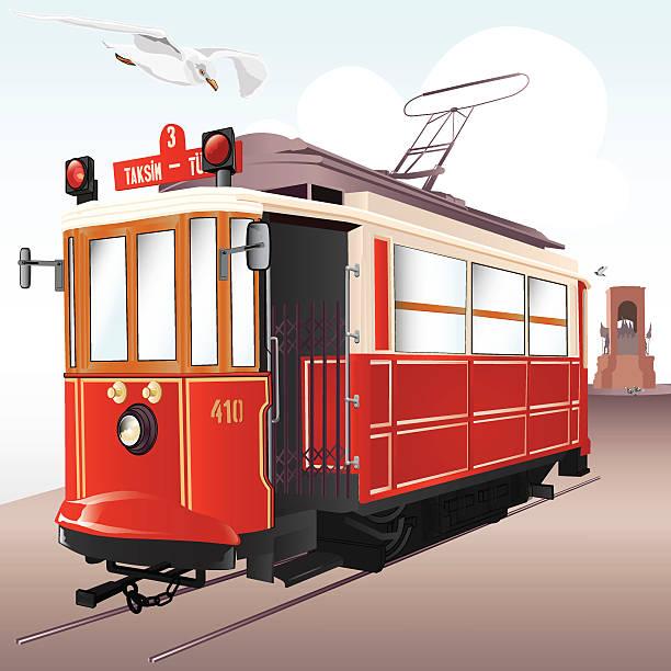 Traditional Istanbul Tram vector art illustration