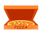 Traditional Italian Pizza Vector Flat Illustration. Pepperoni in Open Cardboard Box. Pastry with Meat and Vegetables. Salami, Peas, Mushrooms Flavour. Cartoon Pizzeria, Restaurant Food