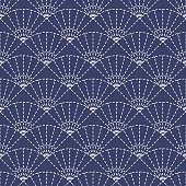 Traditional Japanese Embroidery Ornament with fans. Vector seamless pattern.