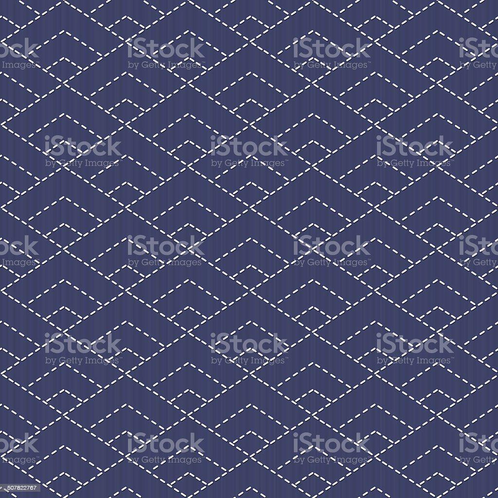 伝統的な日本の刺しゅう飾りに rhombuses ます。 Sashiko ます。 ベクトルシームレスなパターン。 ベクターアートイラスト
