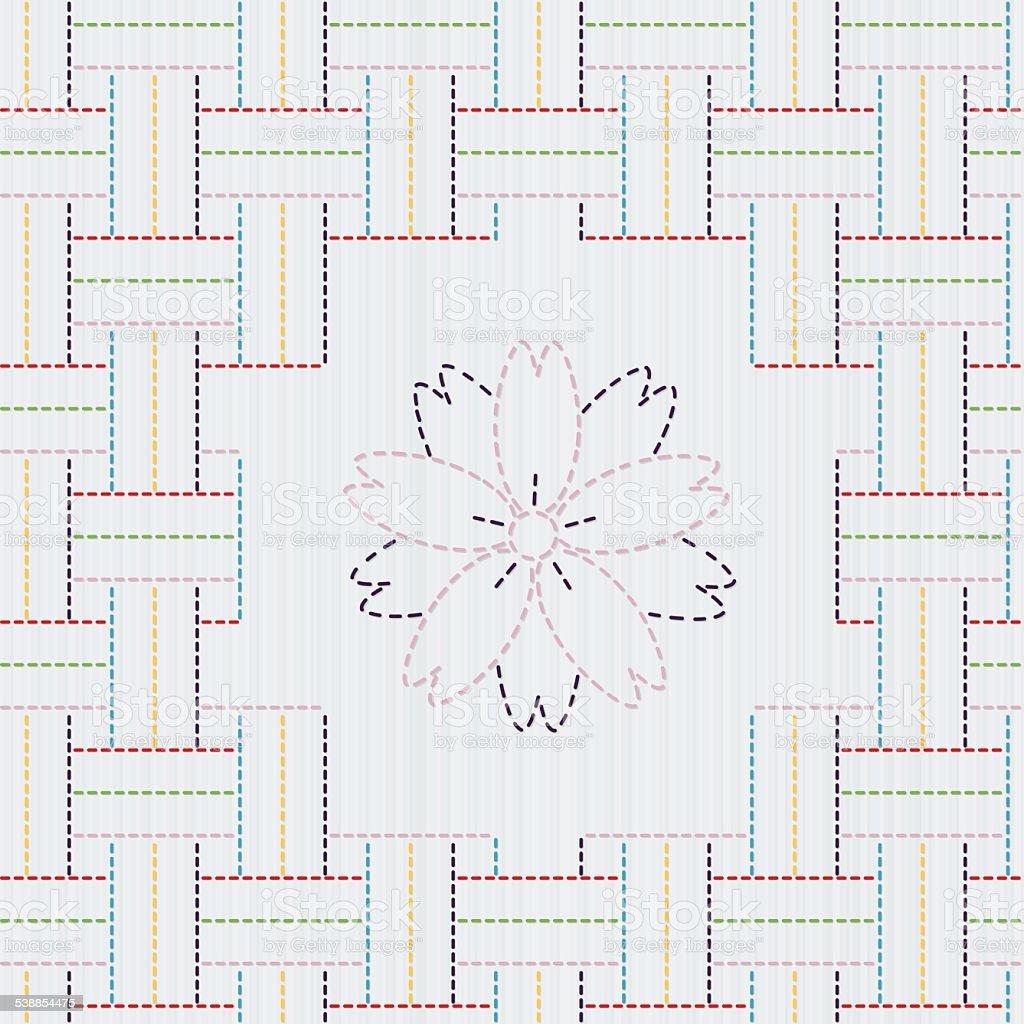 Ilustración de Bordado Adorno Tradicional Japonesa Con Sakura Flores ...