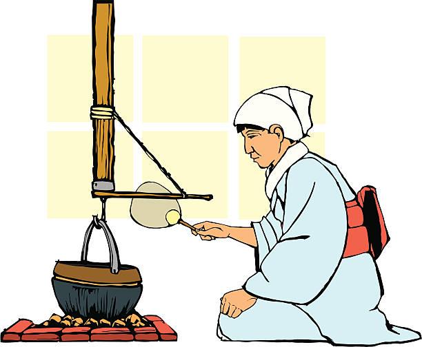 traditionelle japanische hearth - dachpfannen stock-grafiken, -clipart, -cartoons und -symbole