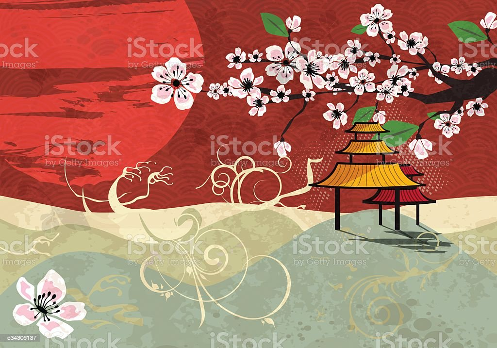 Traditional Japanese landscape with sunset and cherry blossom, vector vector art illustration