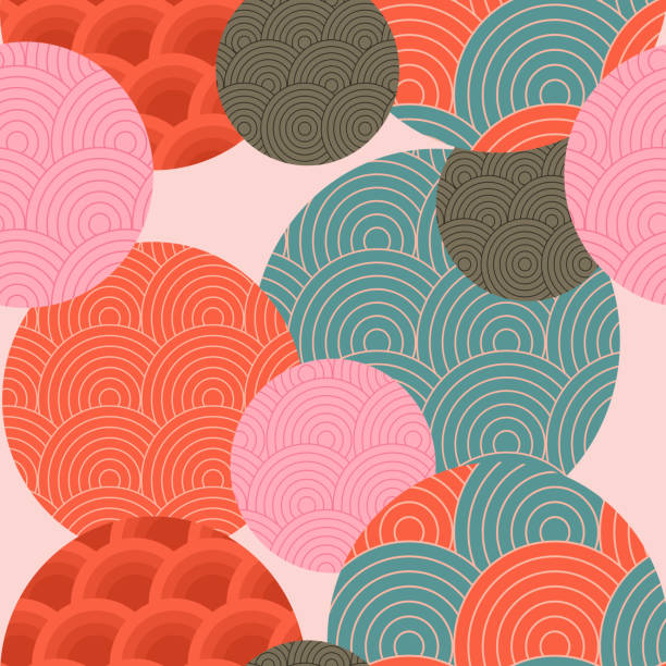 illustrazioni stock, clip art, cartoni animati e icone di tendenza di traditional japanese pattern. seamless pattern. - sfondo artistico