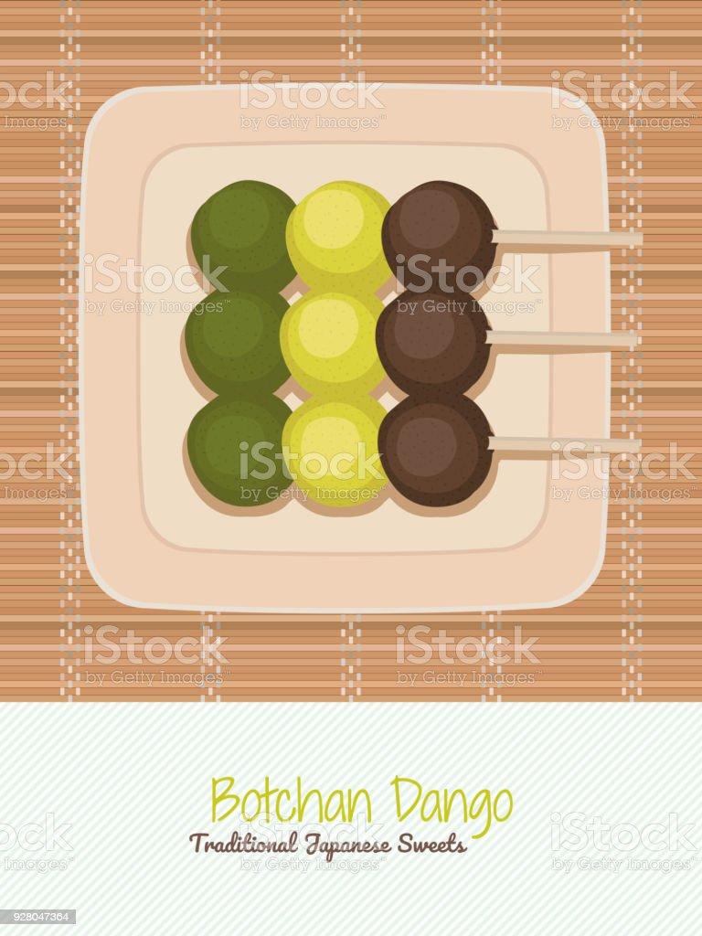 Traditional Japanese Sweets Botchan Dango Asian Vector Art Illustration