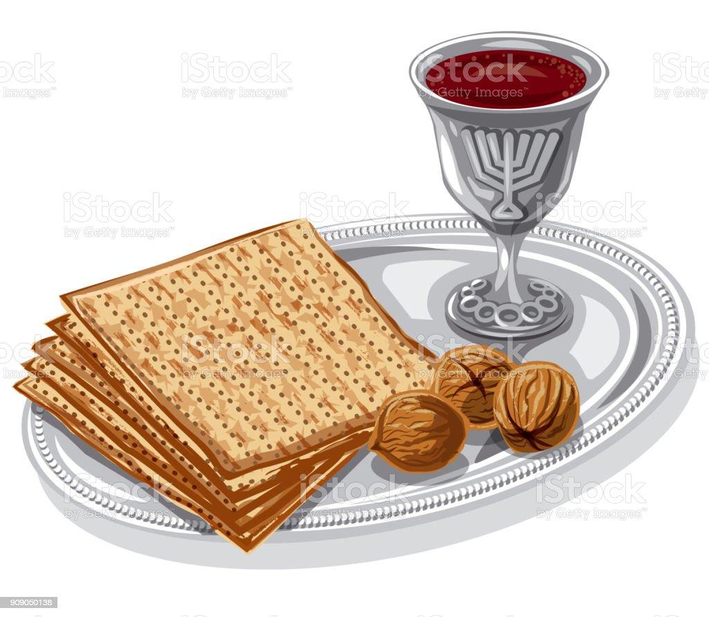 traditional jewish matzoh vector art illustration