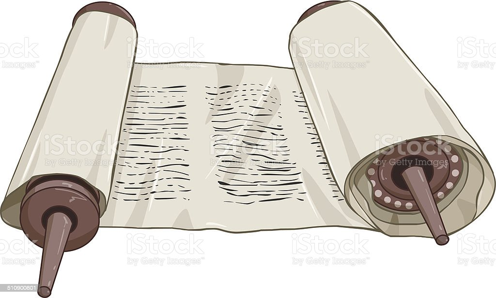 Traditional Jewish Torah Scroll With Text vector art illustration