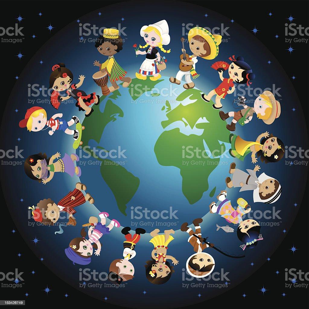 Tradicional de los niños de todo el mundo - ilustración de arte vectorial
