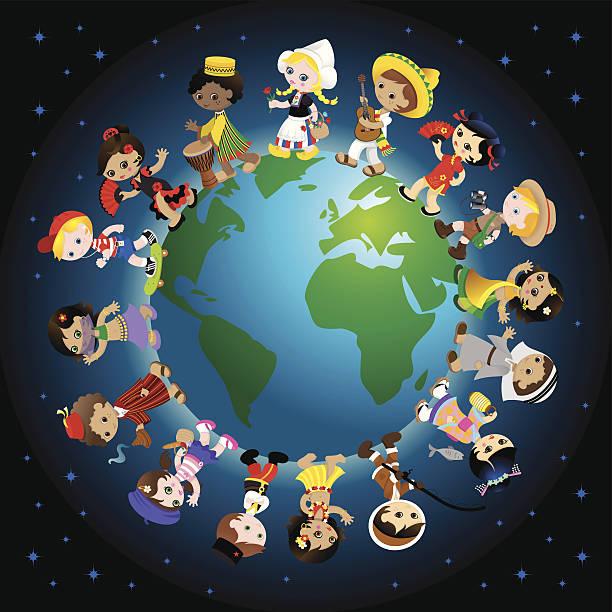 Traditional kids around the world vector art illustration
