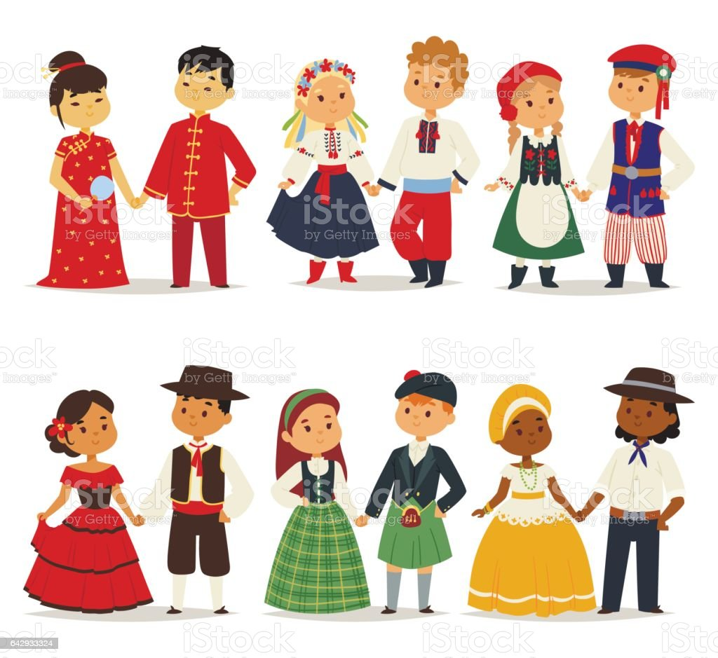 Traditional kids couples character of world dress girls and boys in different national costumes and cute little children nationality dress vector illustration vector art illustration