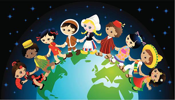 Traditional kids holding hands around world vector art illustration