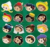 Traditional kids international heads set