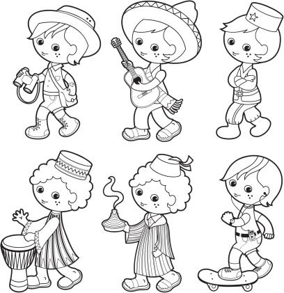 Traditionnelle Garçon Ensemble De Coloriage De Jeux Pour Enfants Kids World Vecteurs libres de ...