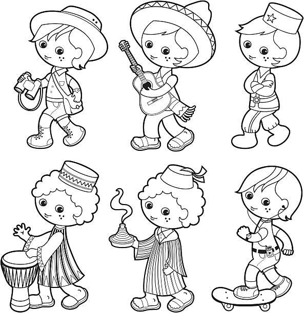 Vectores De Niño De Dibujos Animados Con Sombrero De Ala Ancha E