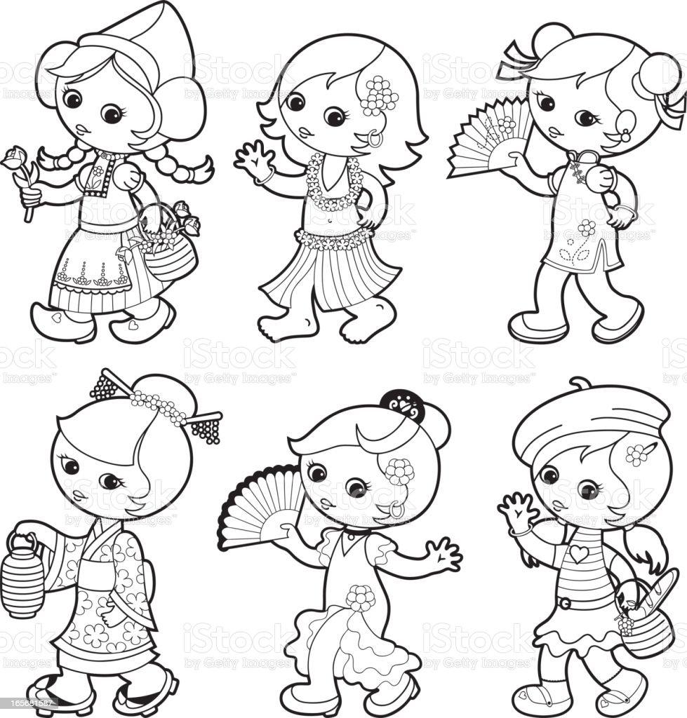 Ilustración de Tradicional De Los Niños Del Mundo Para Colorear De ...