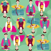 Traditional korean dresses. Lunar New Year. Seamless background pattern.