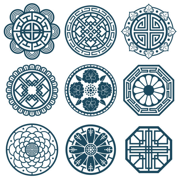 Royalty Free Korean Traditional Pattern Clip Art Vector Images