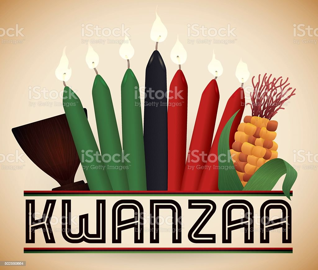 Elementos tradicionais Kwanzaa - ilustração de arte em vetor