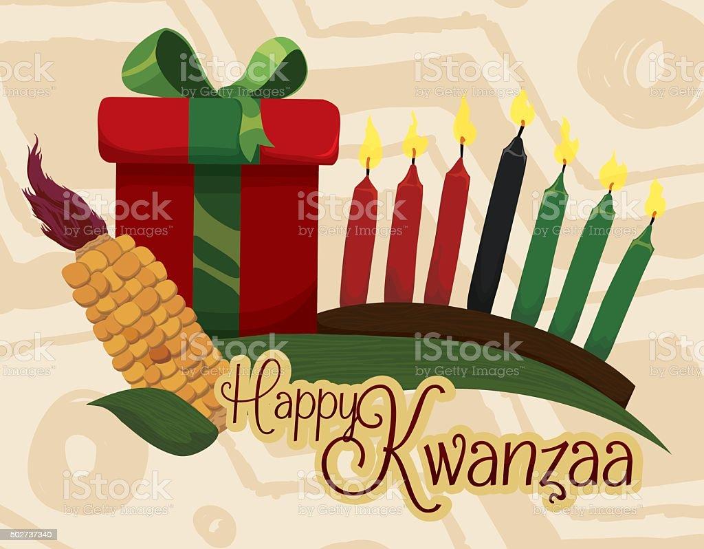 Kwanzaa elementos tradicionais com receber mensagem e presente. - ilustração de arte em vetor