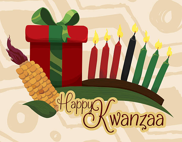 Traditional Kwanzaa Elements with Greeting Message and Gift. vector art illustration