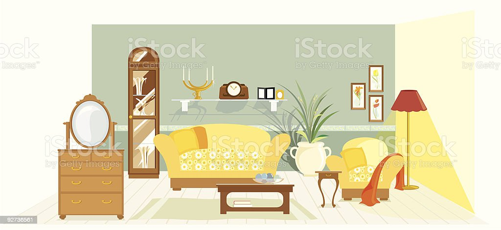 Traditional Living Room vector art illustration