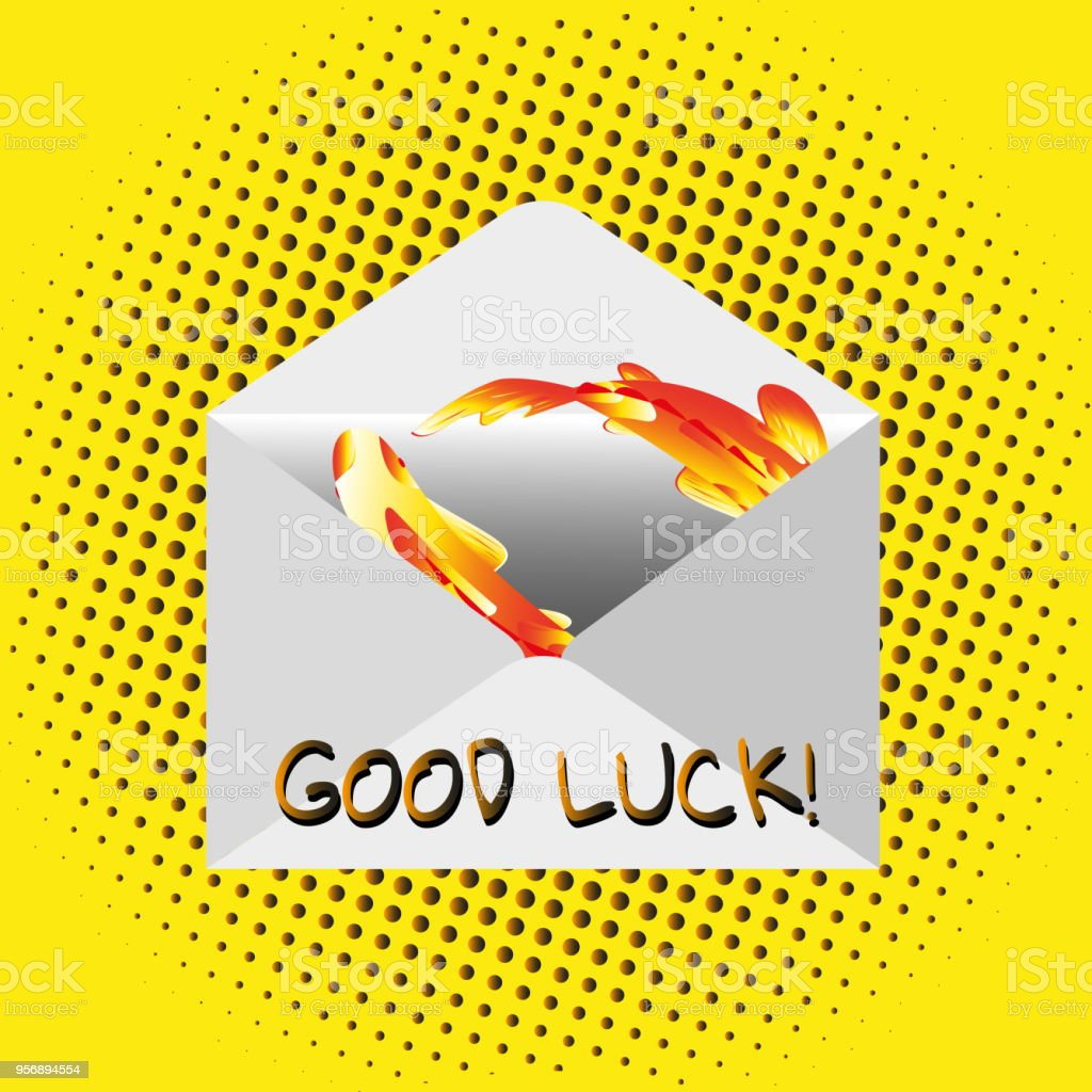 Traditional mail envelope with a wish. Text - Good Luck Illustration...